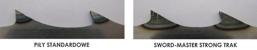 Piły taśmowe SWORD-MASTER STRONG TRAK - zwiększona powierzchnia zahartowanego uzębienia